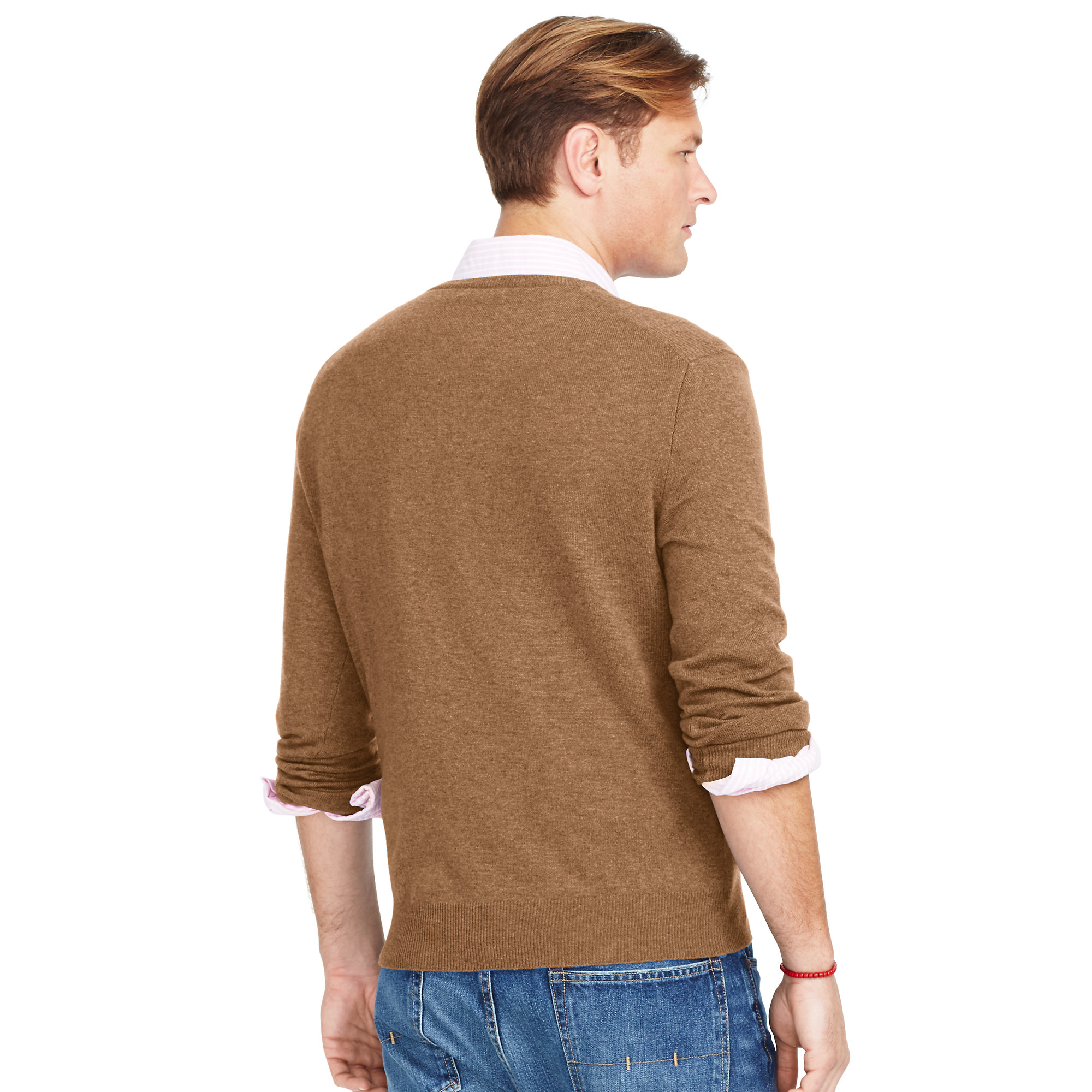 Ralph lauren Merino Wool V-neck Sweater in Brown for Men | Lyst