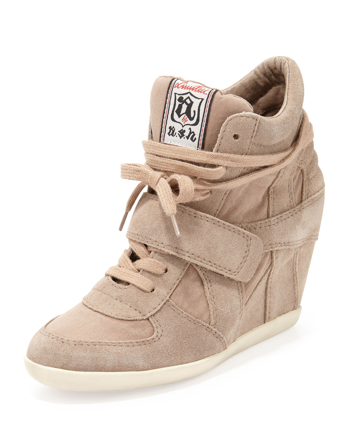 ash bowie suede and canvas wedge sneaker chamois in