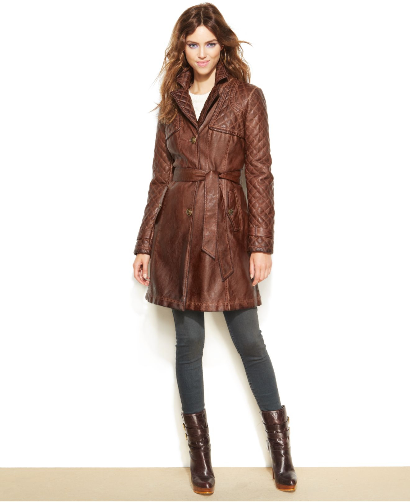 Jessica Simpson Faux Leather Quilted Trench Coat In Brown