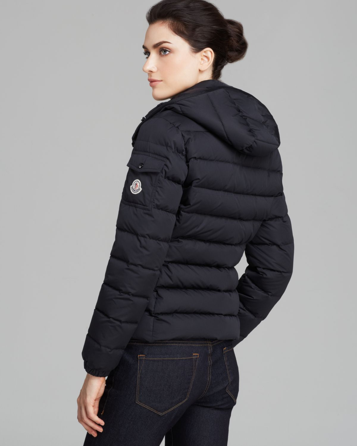 moncler badymat short down jacket in black lyst. Black Bedroom Furniture Sets. Home Design Ideas