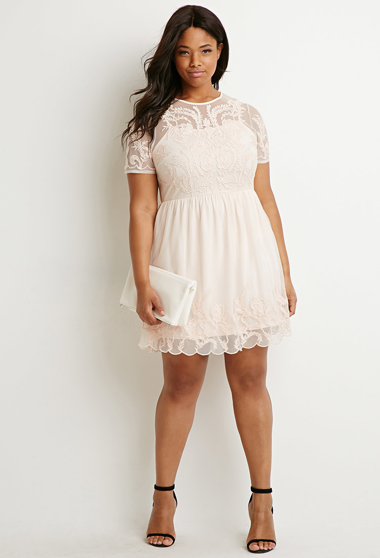 Forever 21 Plus Size Embroidered Fit & Flare Dress in Pink | Lyst