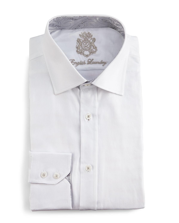 English Laundry Tonal Herringbone Dress Shirt In White For