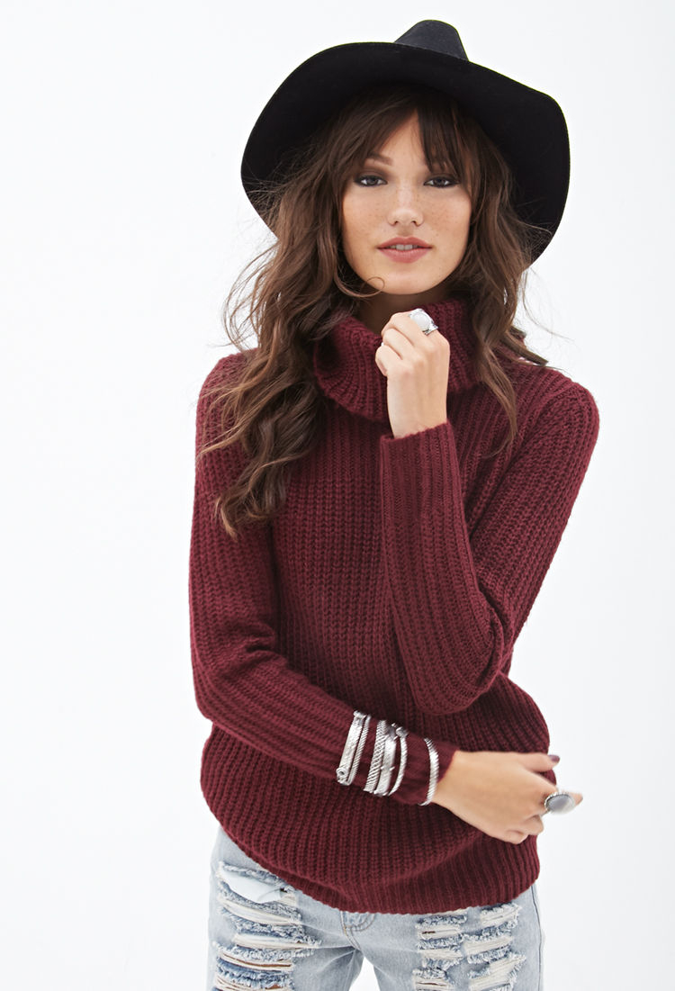 Forever 21 Cowl Neck Fisherman Sweater in Purple | Lyst