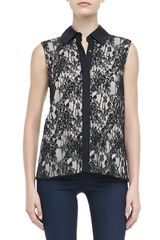 Alice + Olivia Lace Button Down Top