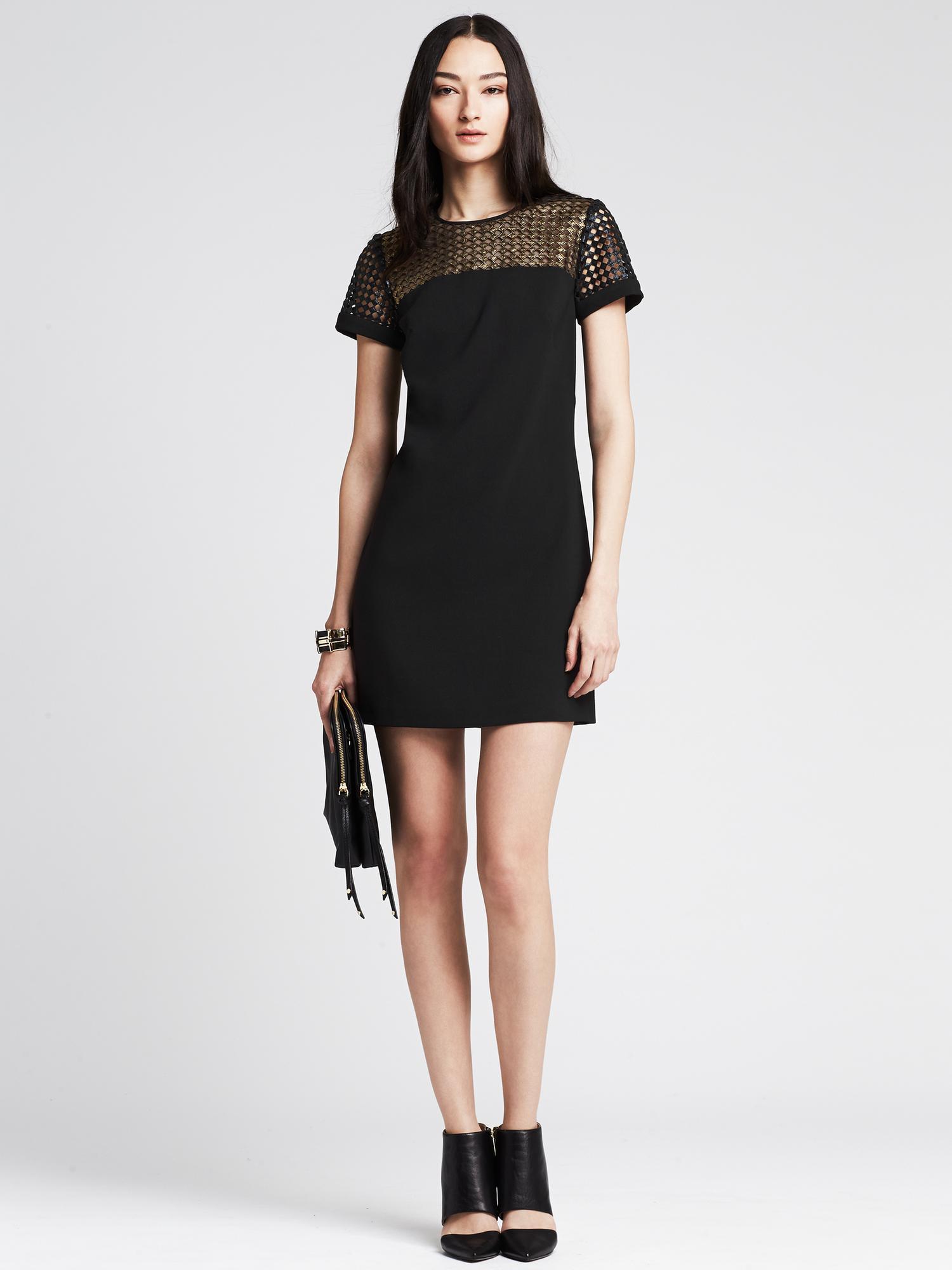 Banana Republic Metallic Lace Tee Dress In Black Br Black