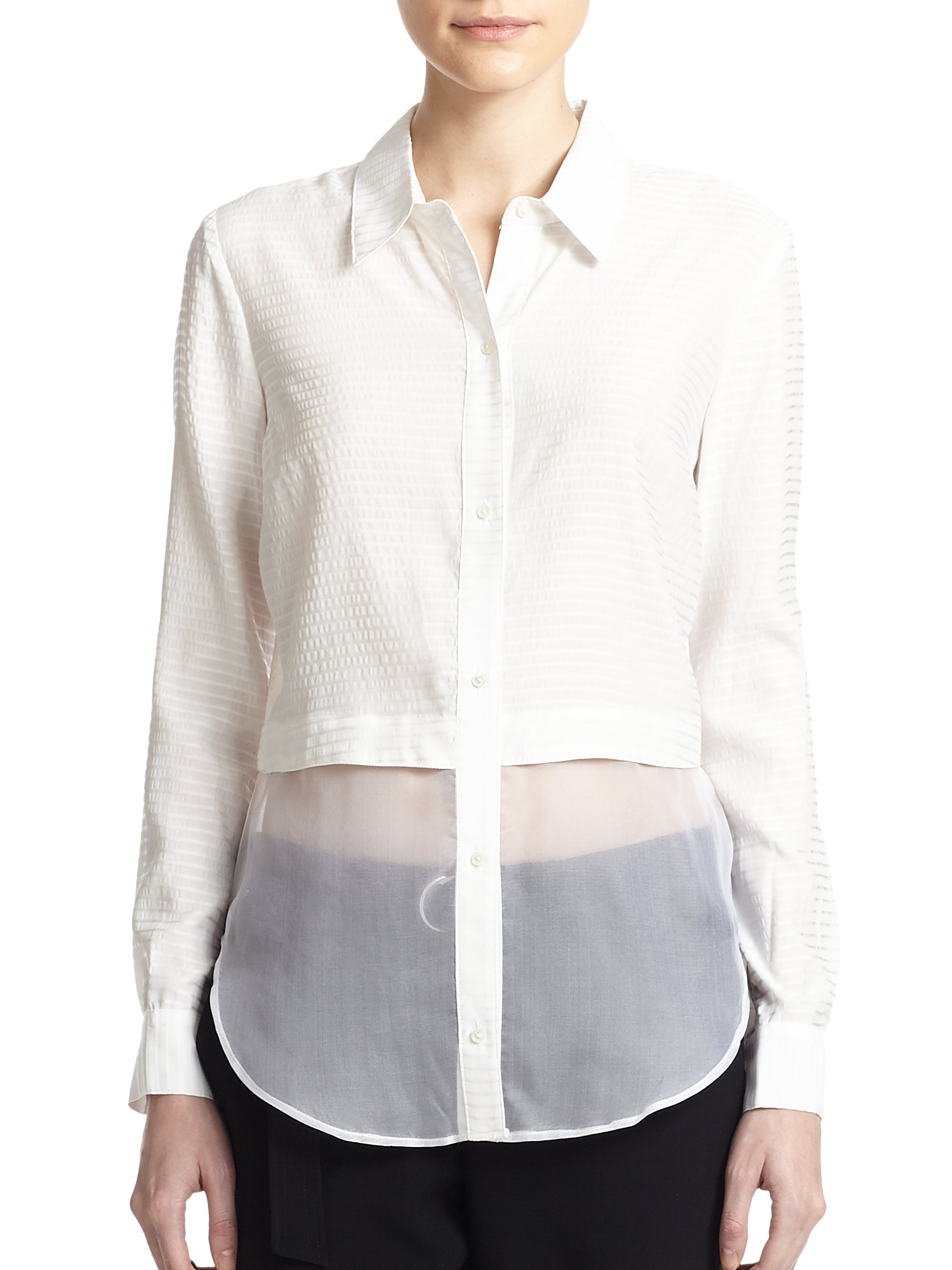 Elizabeth And James Jeza Solid Button Down Shirt In White