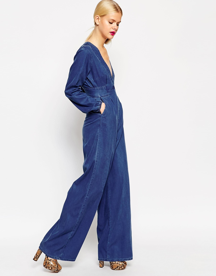 Asos Denim Bianca Premium Jumpsuit in Blue | Lyst
