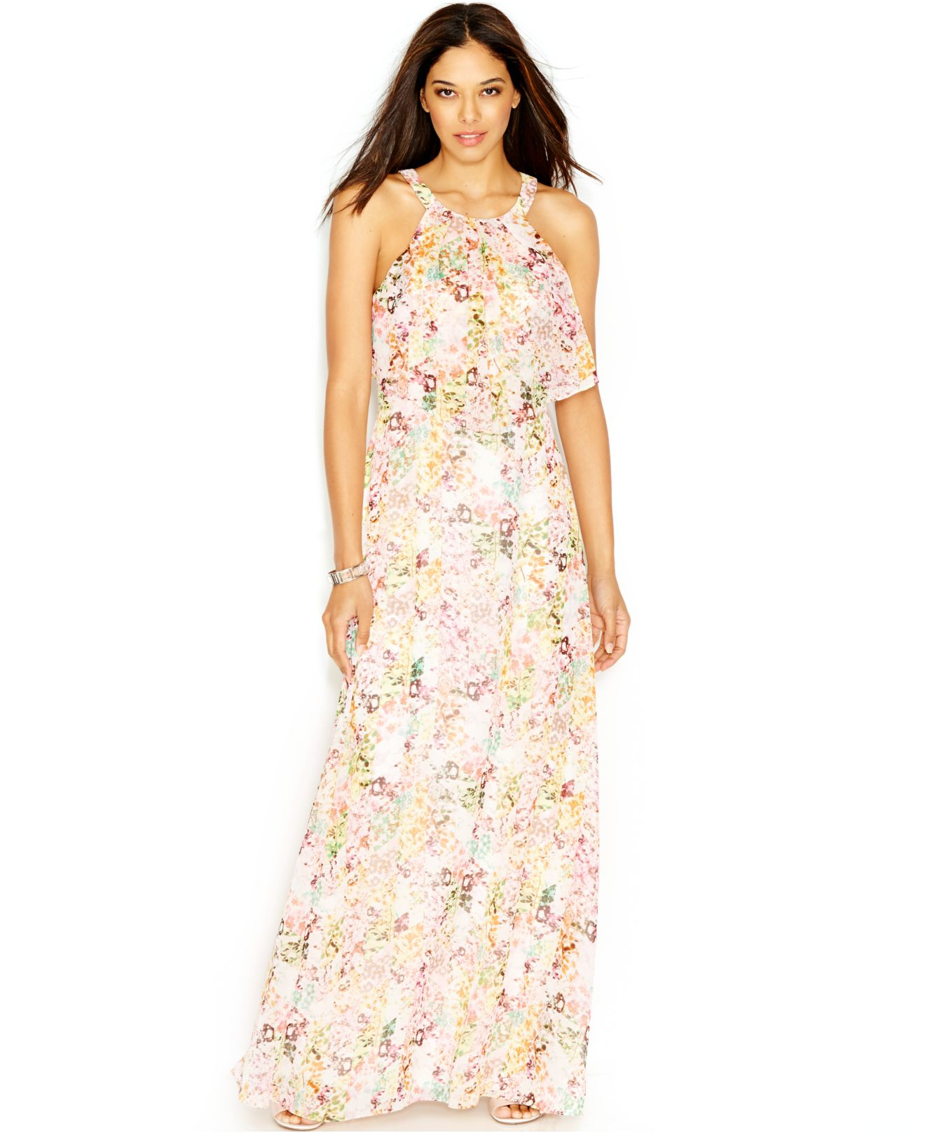 Jessica simpson Floral-Print Popover Maxi Dress | Lyst