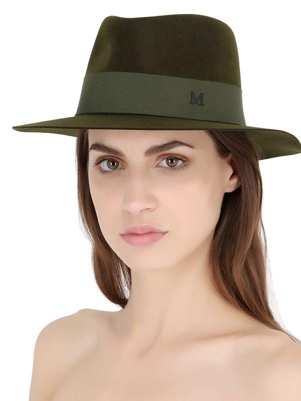 Maison michel andr rabbit fur felt hat in green lyst for Maison michel