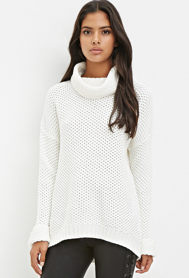 Forever 21 Waffle Knit Turtleneck Sweater in Natural | Lyst