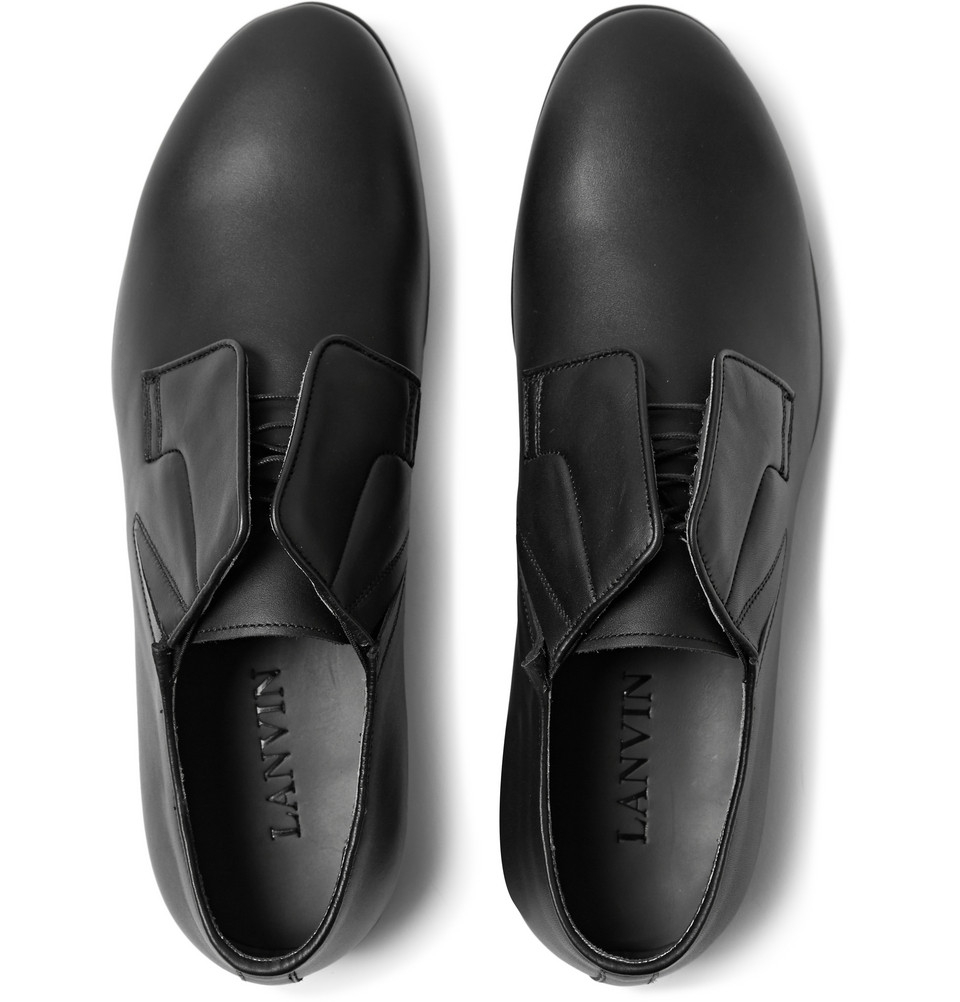 lanvin matte leather derby shoes in black for lyst