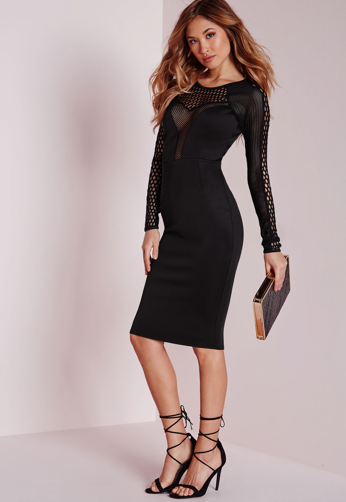 Lyst - Missguided Mesh Insert Long Sleeve Midi Dress Black ...