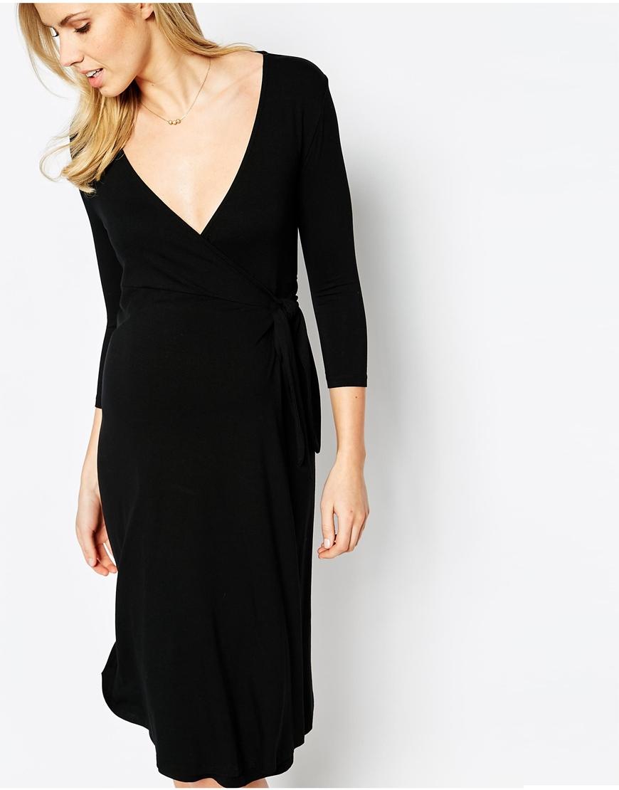 70d4ebe0c72 Isabella Oliver Wrap Dress in Black - Lyst