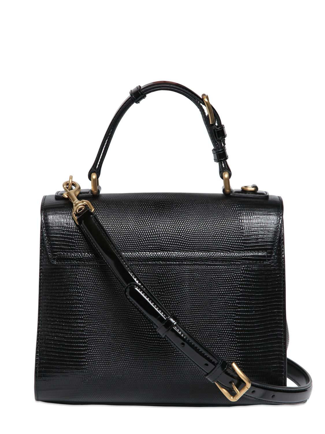 Dolce   Gabbana Monica Iguana Embossed Leather Bag in Black - Lyst c8a1d513f30be