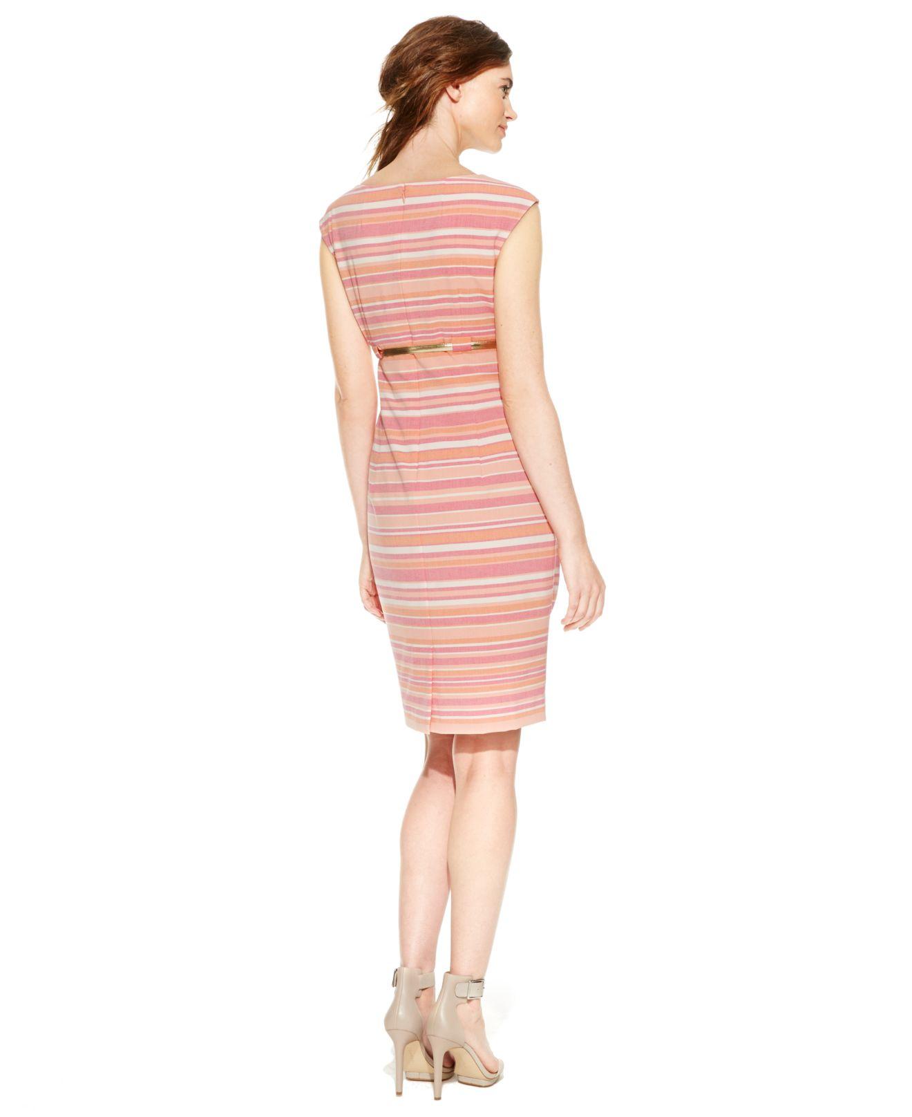 calvin klein striped belted sheath dress in pink lyst