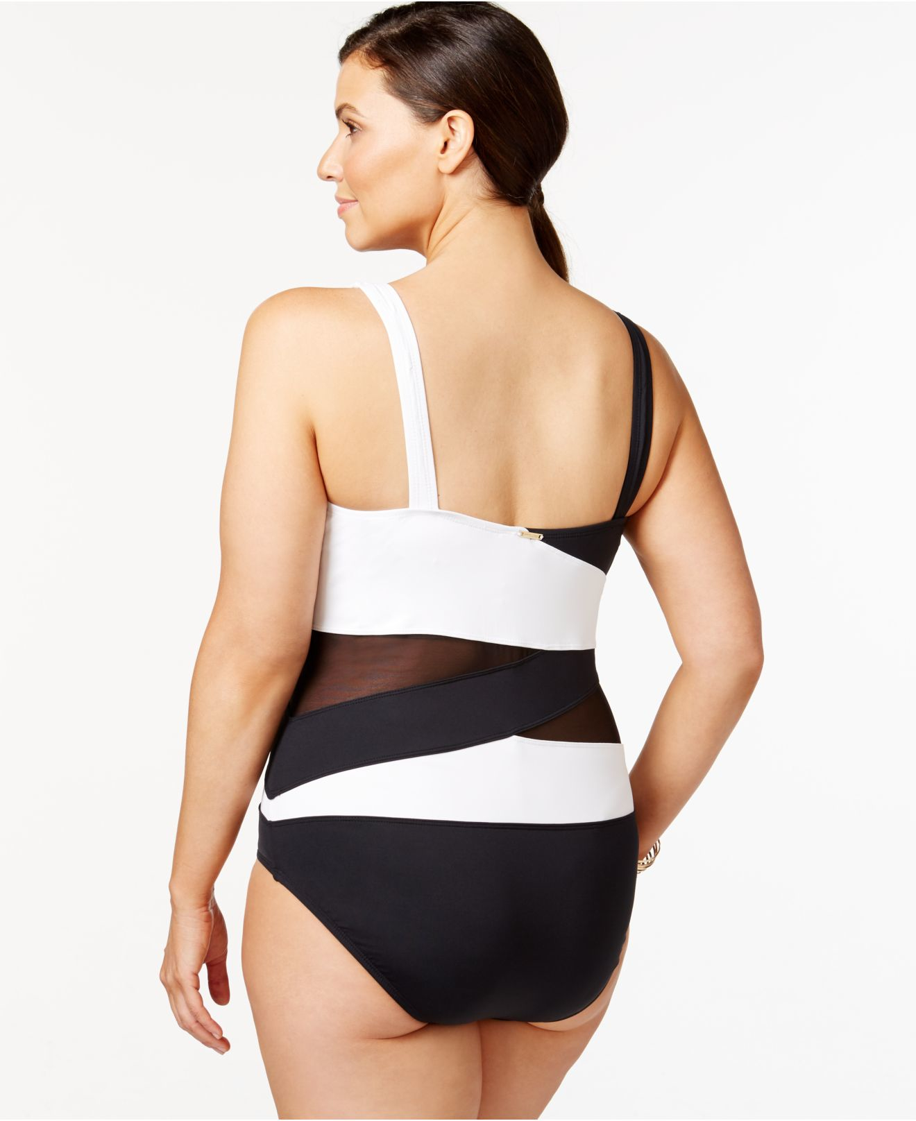 7e27824c68 Lyst - Anne Cole Plus Size Mesh Combo One-piece Swimsuit in Black