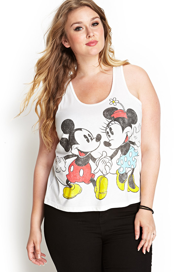 caf2355f0c5 Lyst - Forever 21 Plus Size Mickey   Minnie Racerback Tank You ve ...