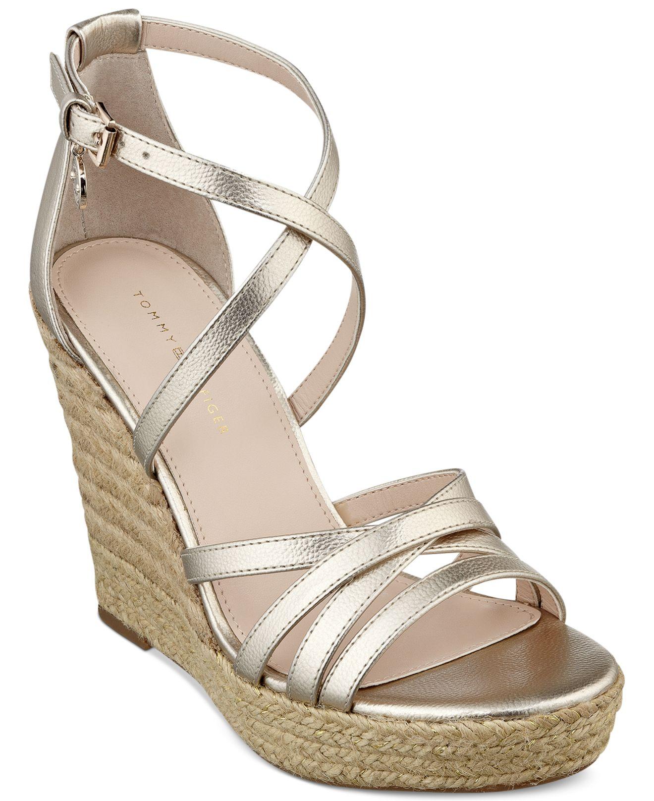 6b68d53a91 Lyst - Tommy Hilfiger Women S Venitia Platform Wedge Sandals in Metallic