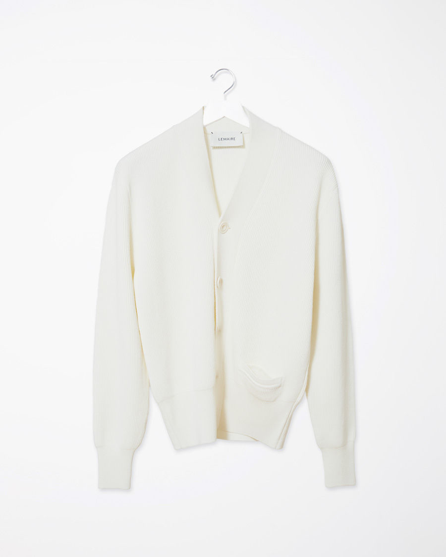 Lemaire Crepe Wool Cardigan in White | Lyst