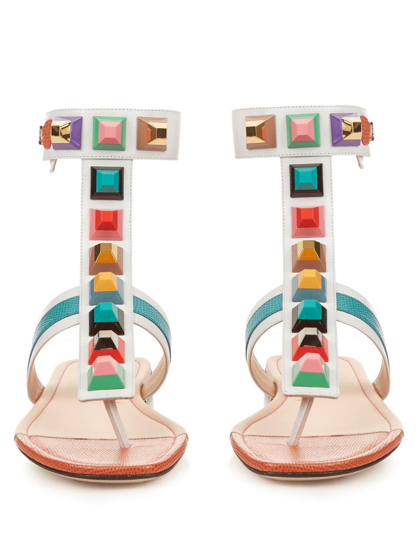 Lyst Fendi Rainbow Stud Embellished Leather Sandals In White