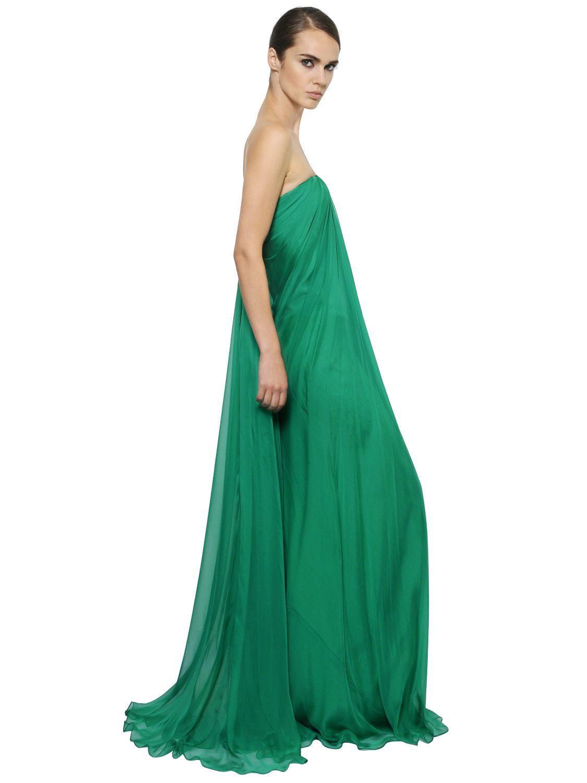 Alexander mcqueen Draped Strapless Silk Chiffon Long Dress in ...