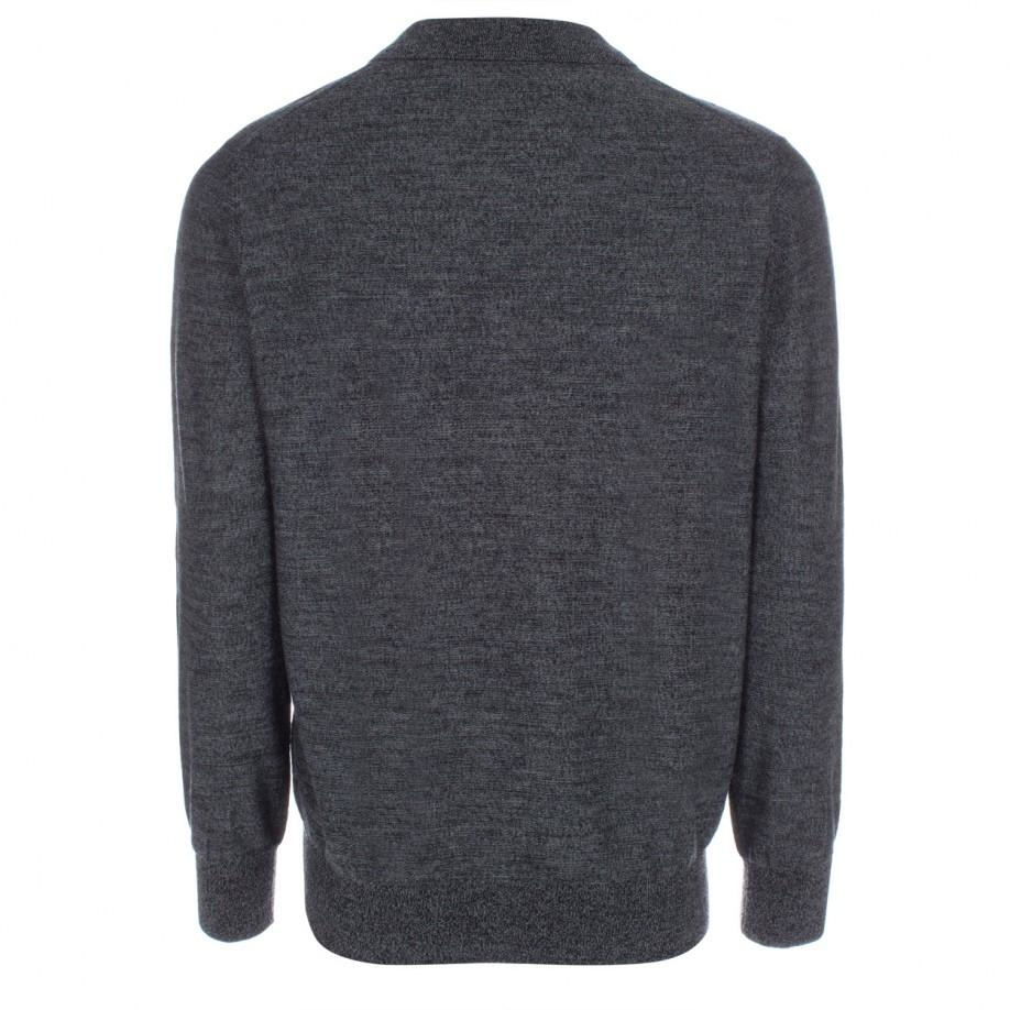 Paul smith men 39 s grey marl merino wool long sleeve polo for Long sleeve wool polo shirts