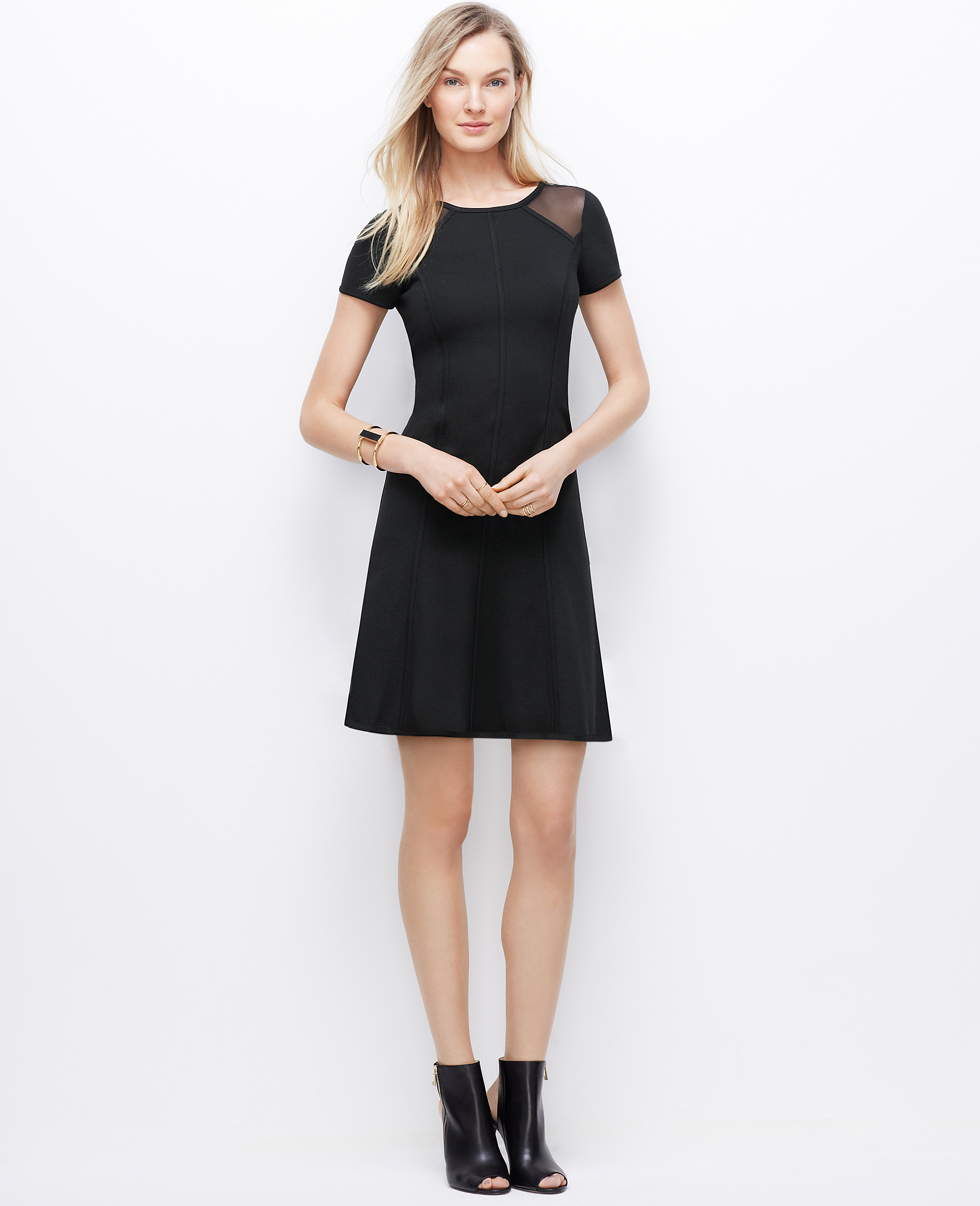 648a251d96 Lyst - Ann Taylor Sheer Panel Flare Dress in Black
