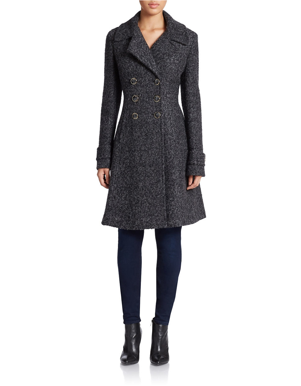 Ivanka Trump Double Breasted Fit And Flare Coat In Black
