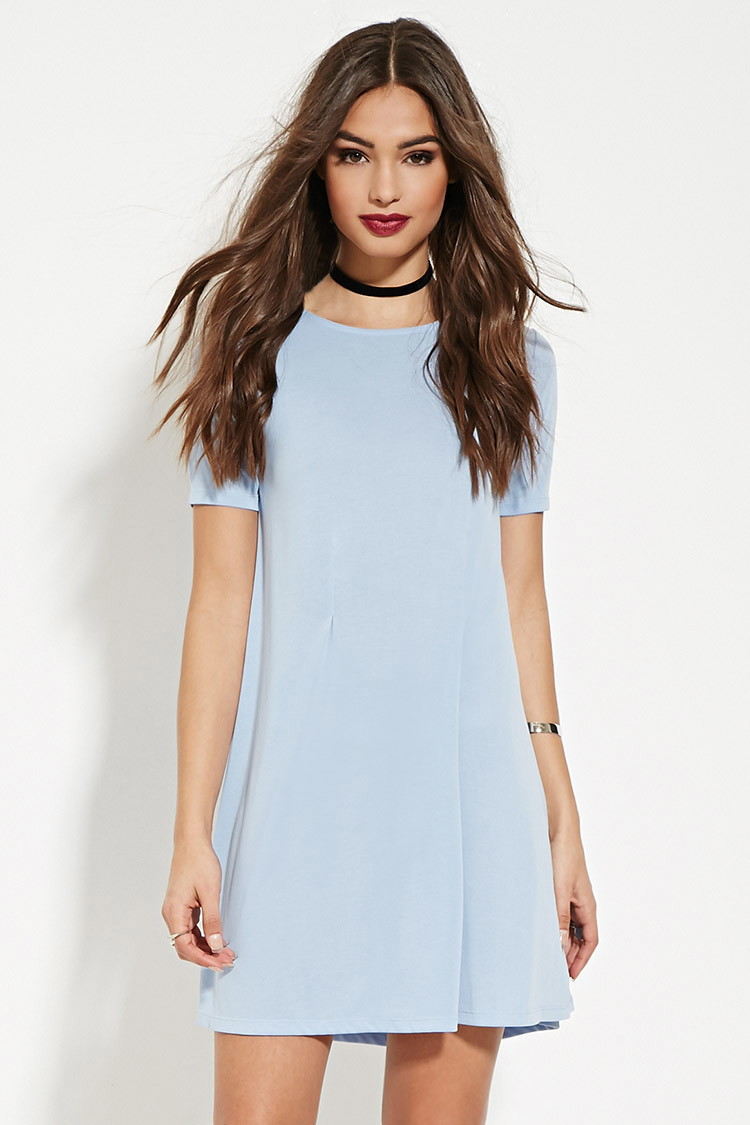 Lyst Forever 21 Pleated T Shirt Dress In Blue