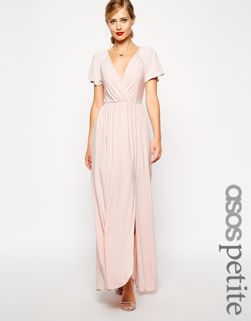 4dd68fc4a9 ASOS Flutter Sleeve Wrap Maxi Dress in Natural - Lyst