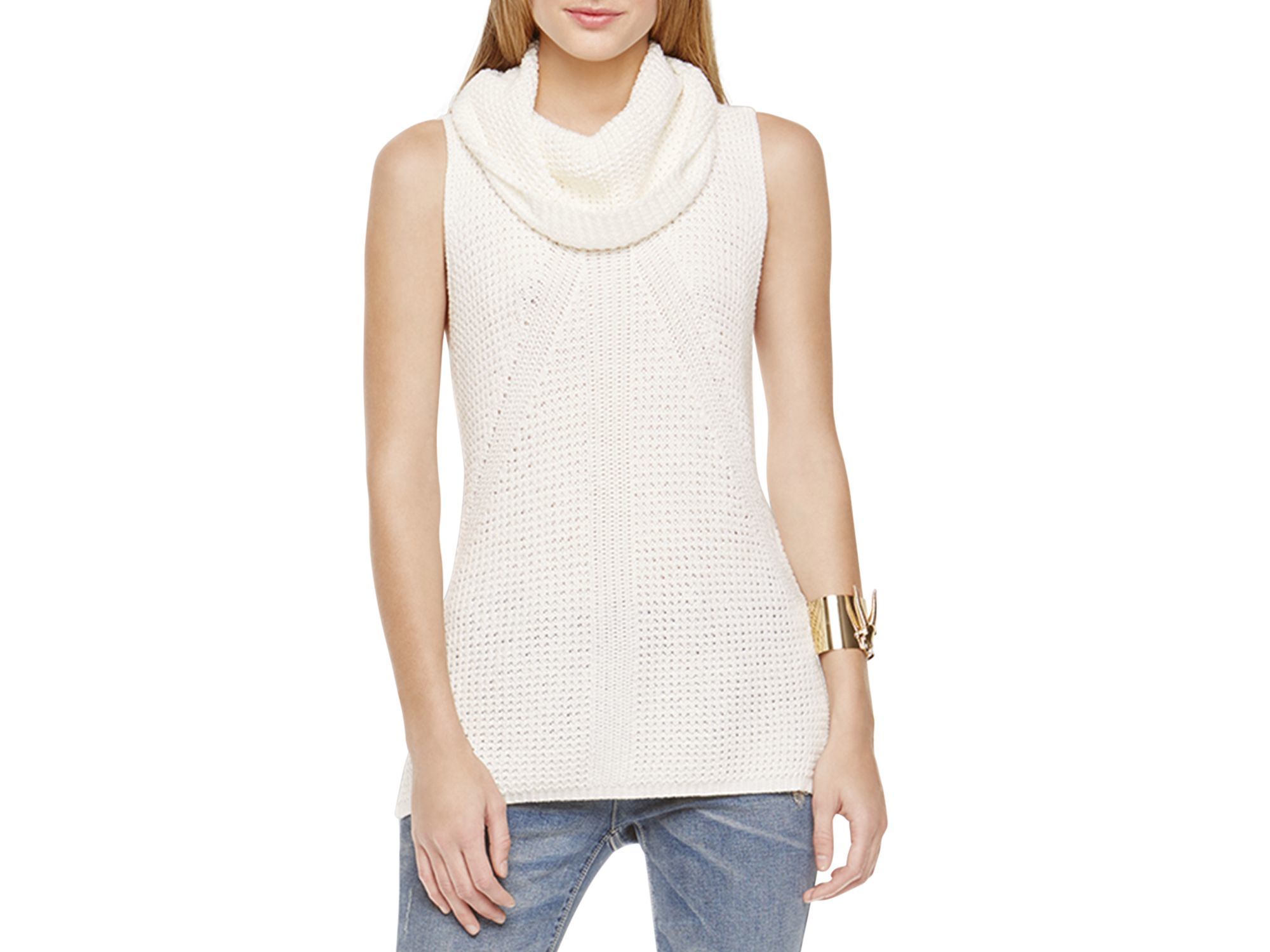 1da845add87f4d Lyst - Two By Vince Camuto Sleeveless Turtleneck Sweater in White