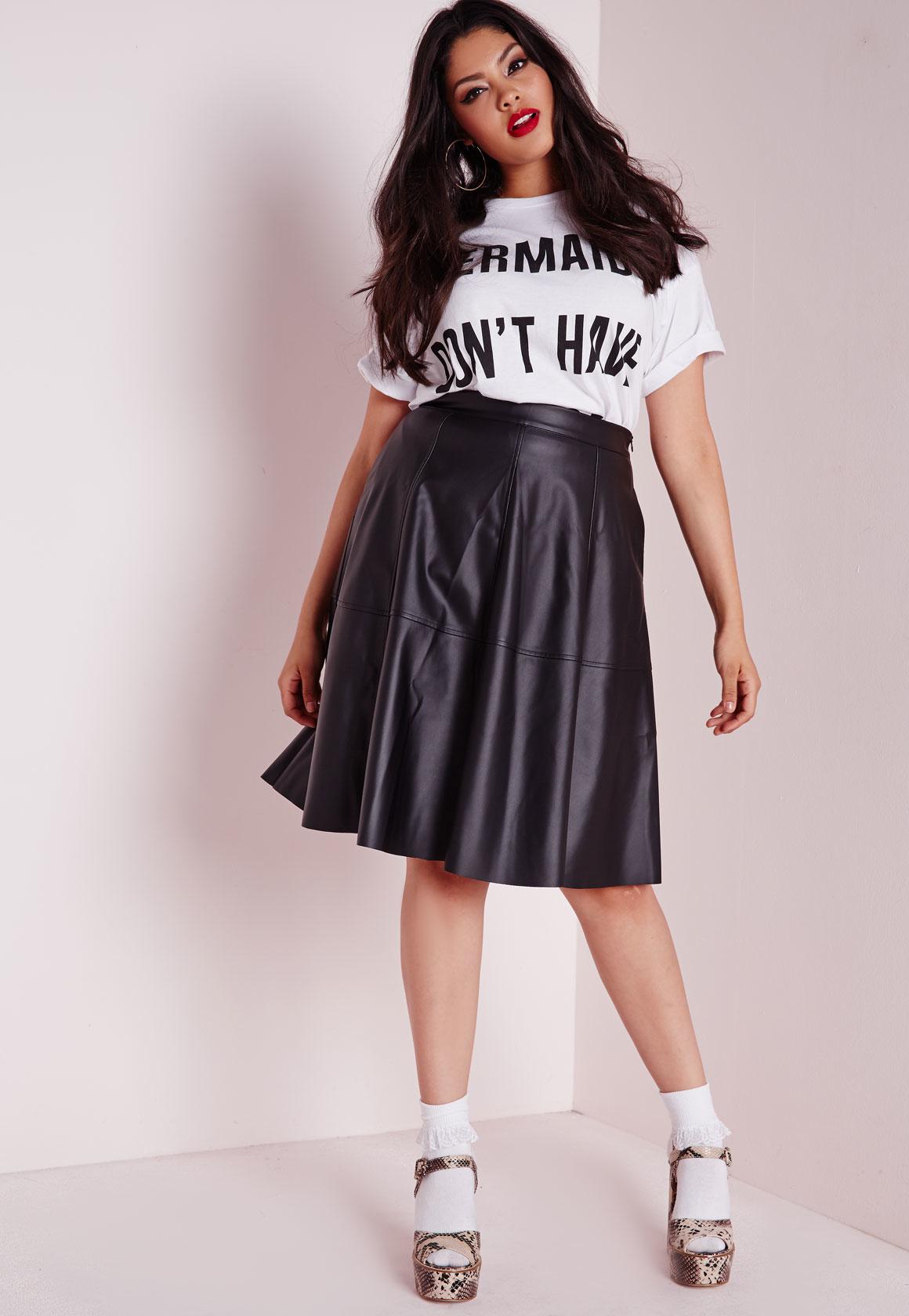 Black leather look midi skater skirt – Modern skirts blog for you