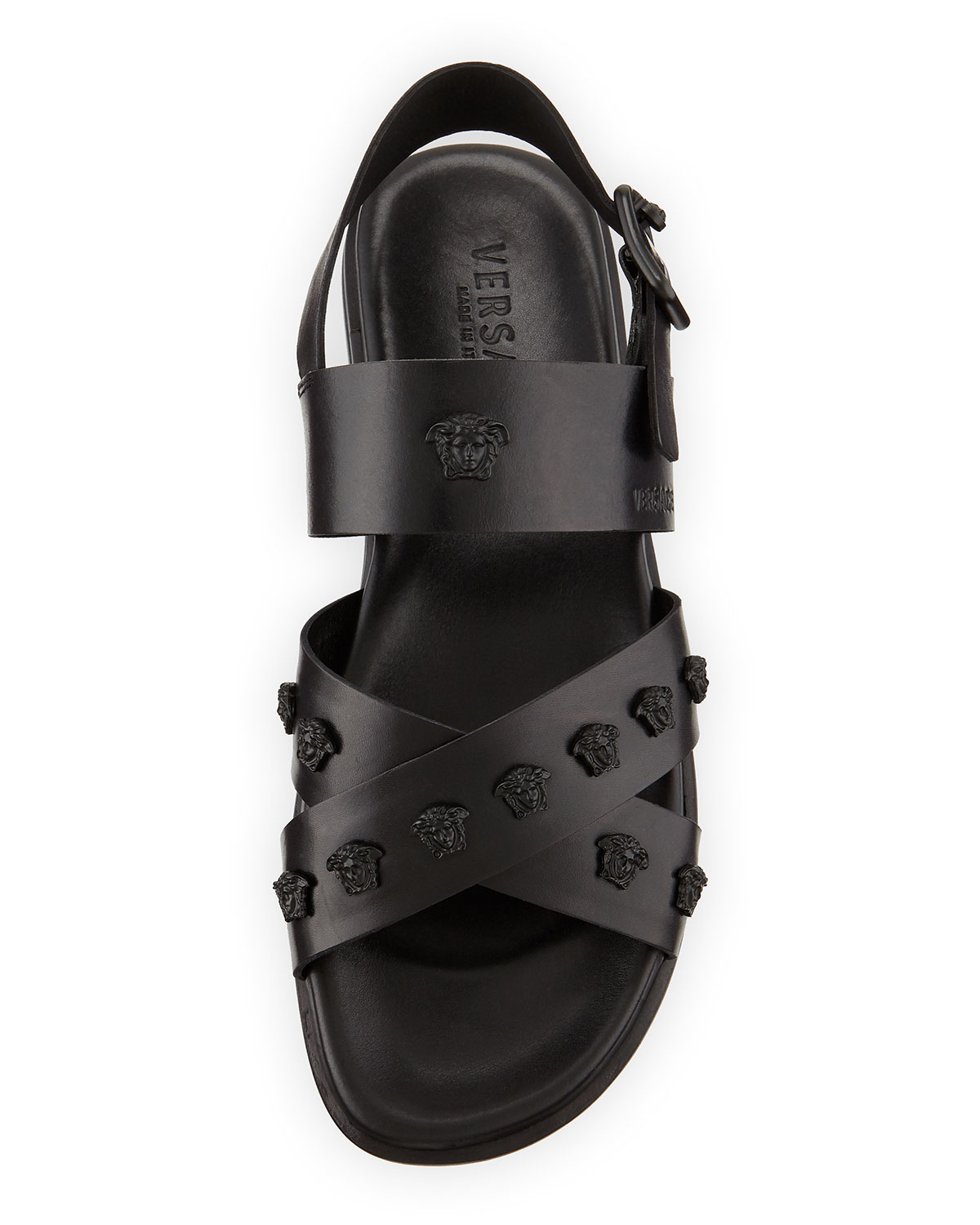 Lyst Versace Men S Leather Strappy Sandal In Black For Men