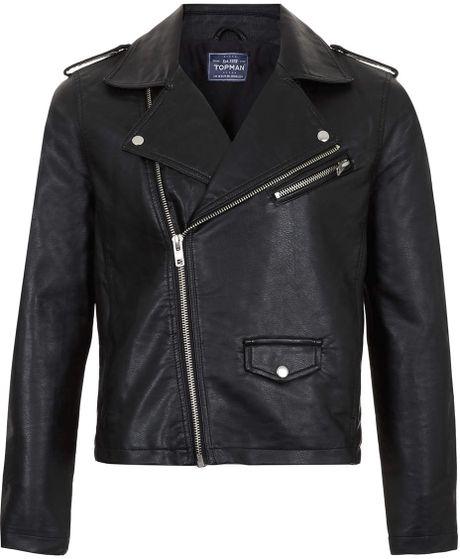 Ecru leather look biker jacket - coats / jackets - sale - men