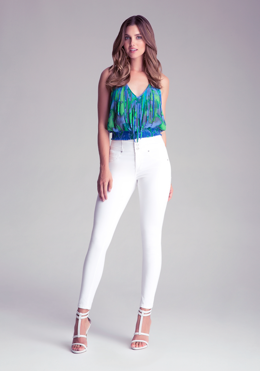 Slightly Distressed White Skinny Jeans - Ripped Knee White