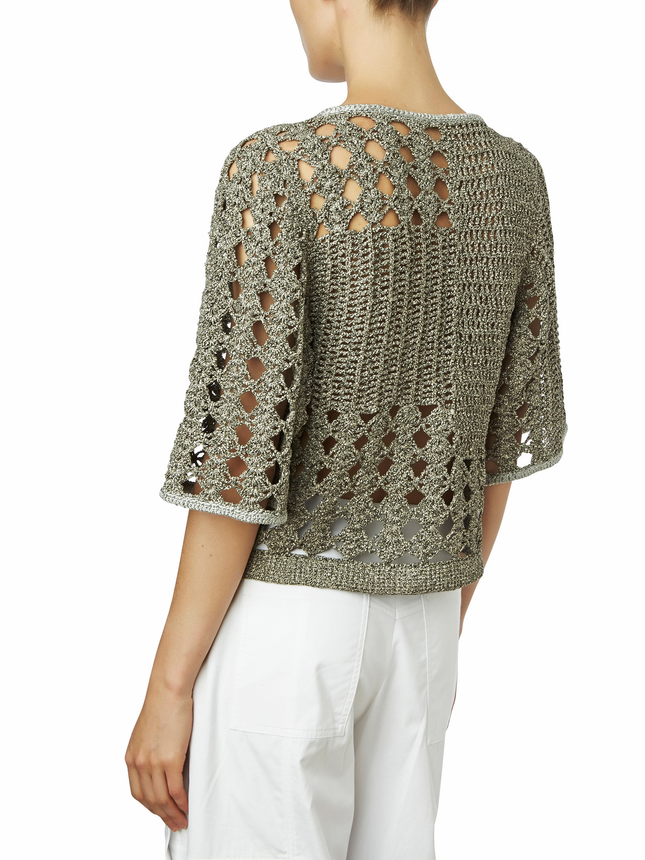 Maiyet Hand Knit Cropped Short Sleeve Sweater in Gray | Lyst