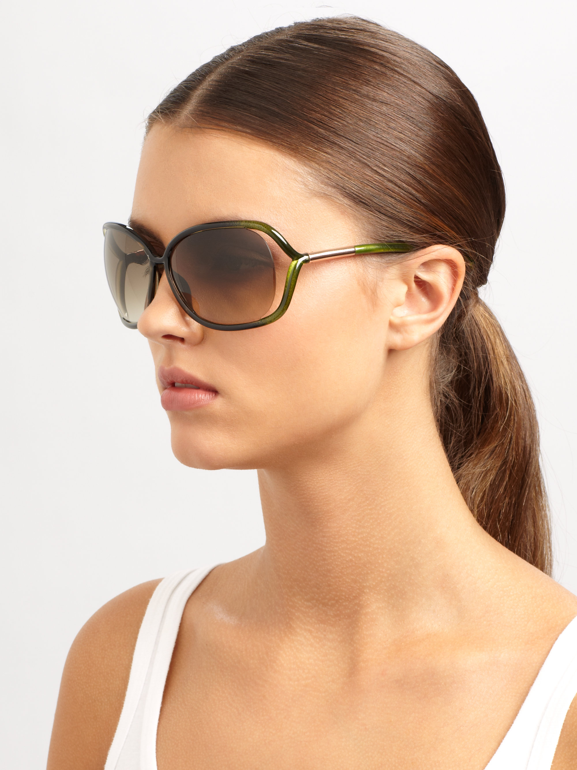 Tom Ford Raquel 68mm Oval Sunglasses In Green Lyst