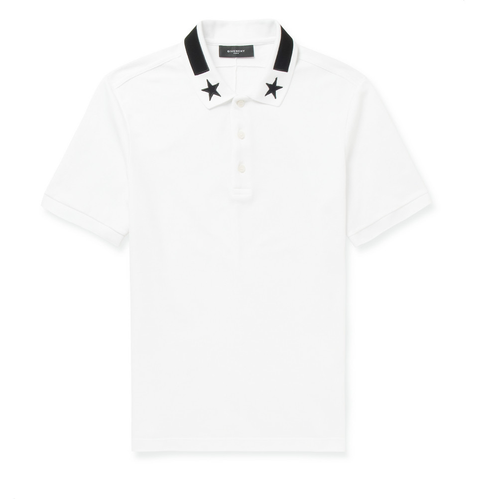 cff50b10 Givenchy Startrim Contrastcollar Polo Shirt in White for Men - Lyst