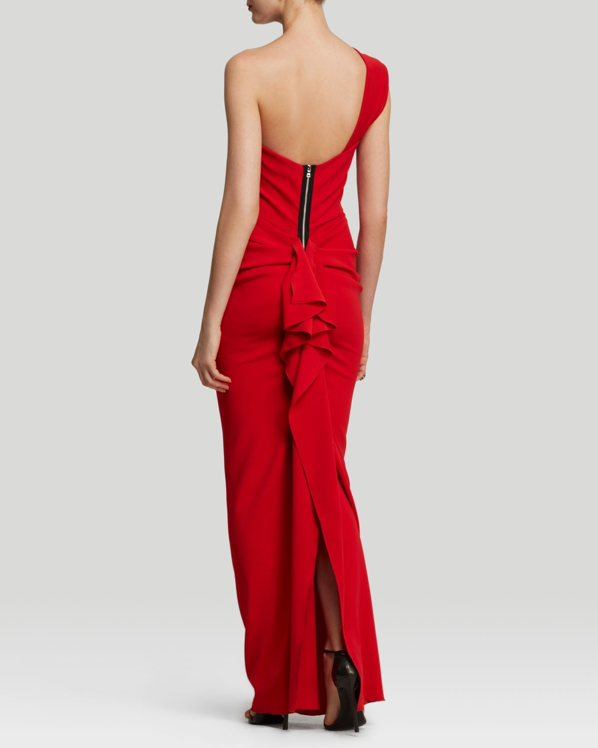 31ac6925680c6 Lyst - Nicole Bakti Gown - One Shoulder Ruffle Back in Red