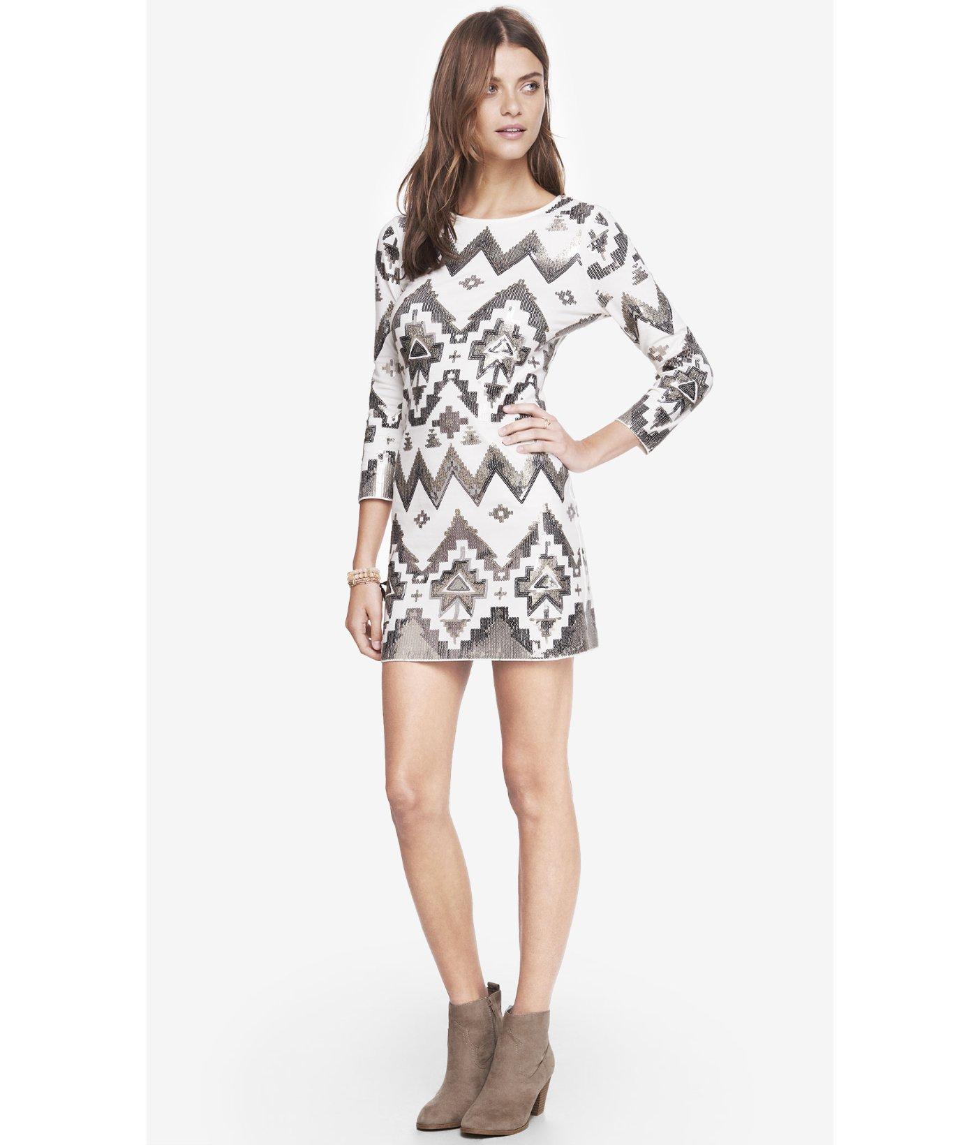 ecd101e2d5ba Express Aztec Sequin Embellished Mini Dress in White - Lyst