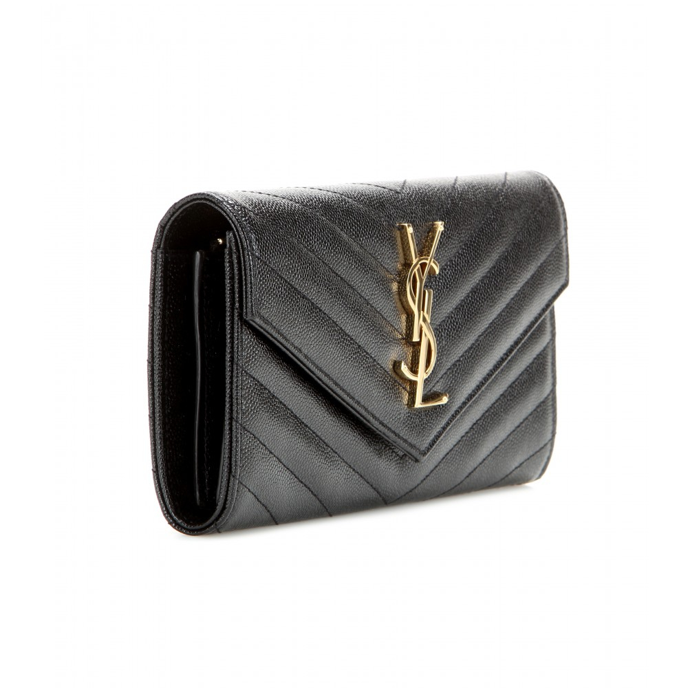 9e38546e3fca4 Lyst - Saint Laurent Monogram Quilted Leather Wallet in Black