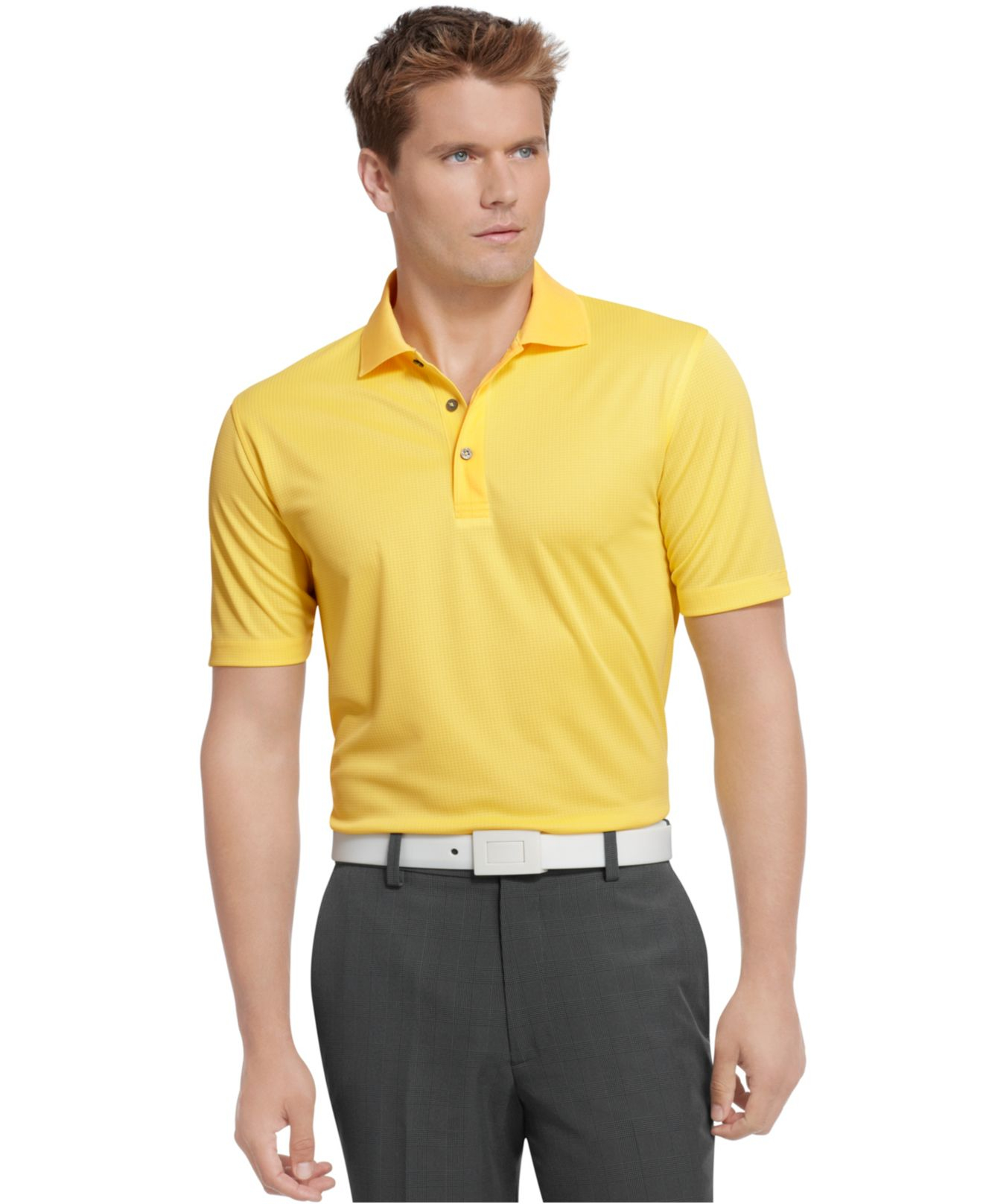 17f78444 Izod Performance Solid Grid Golf Polo in Brown for Men - Lyst
