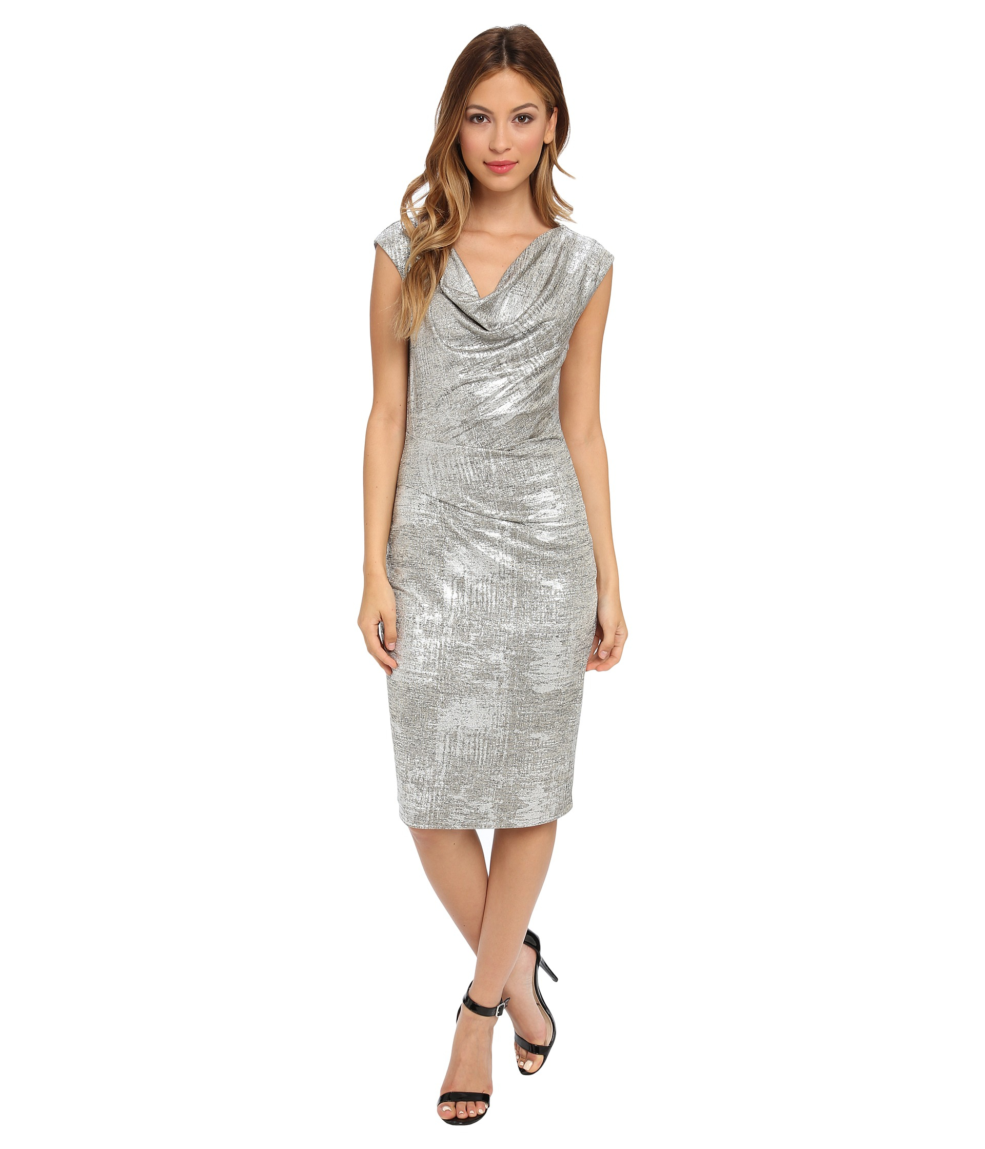 Cowl Dress: Vince Camuto Onepiece Silver Metallic Cowl Neck