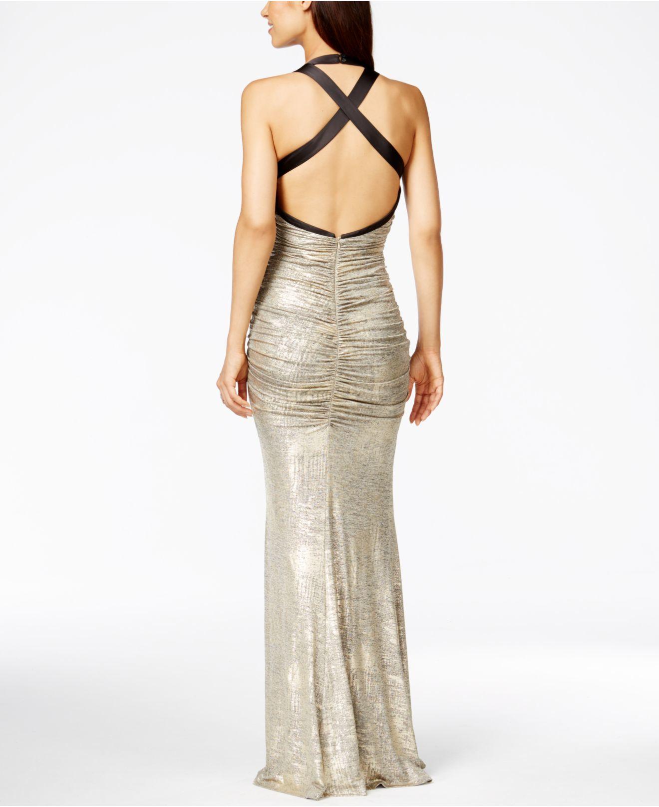 5f794345028e Calvin Klein Metallic Ruched Halter Gown in Metallic - Lyst