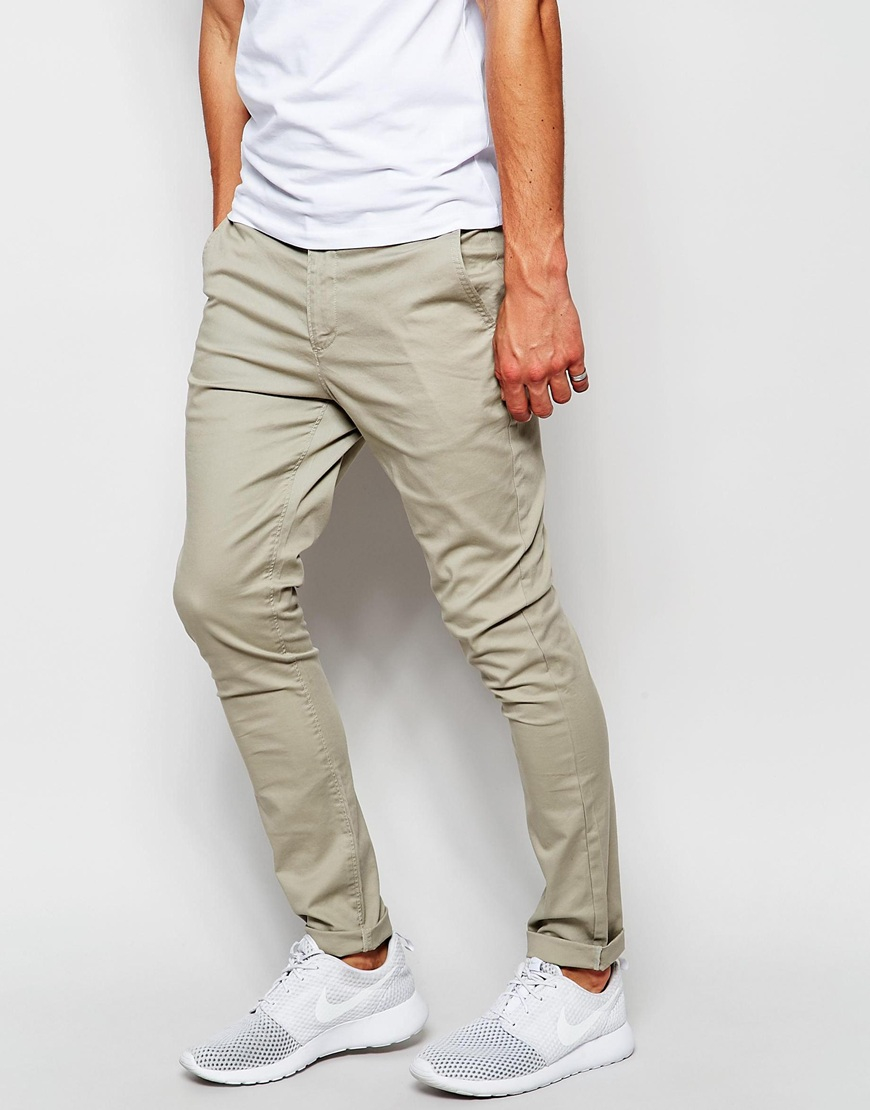 elegant appearance select for official Clearance sale ASOS Cotton Super Skinny Chinos In Light Green in Gray for ...