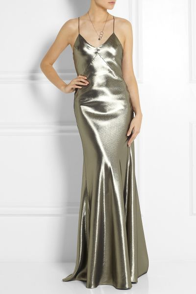 Lamé Maxi Dress in Silver