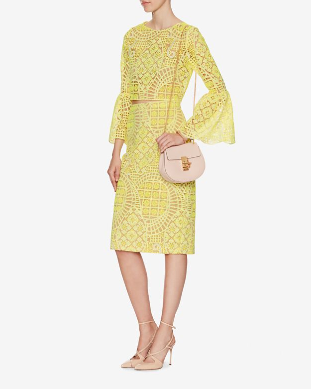 lace pencil skirt yellow in yellow lyst