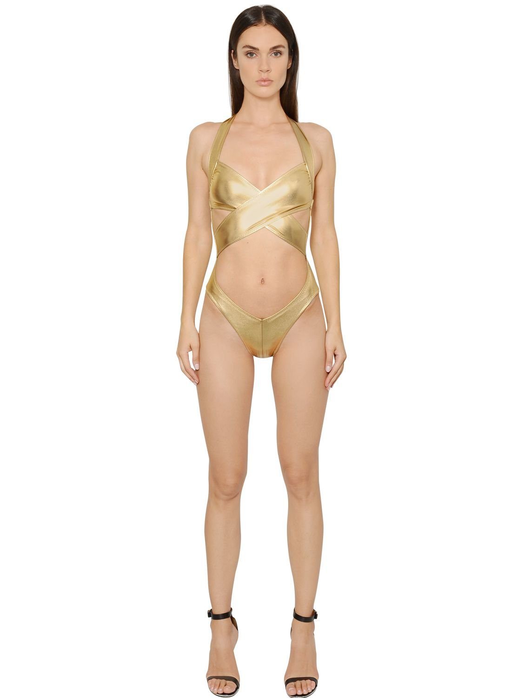 Norma Kamali Mio Halter Crisscross Metallic Swimsuit In