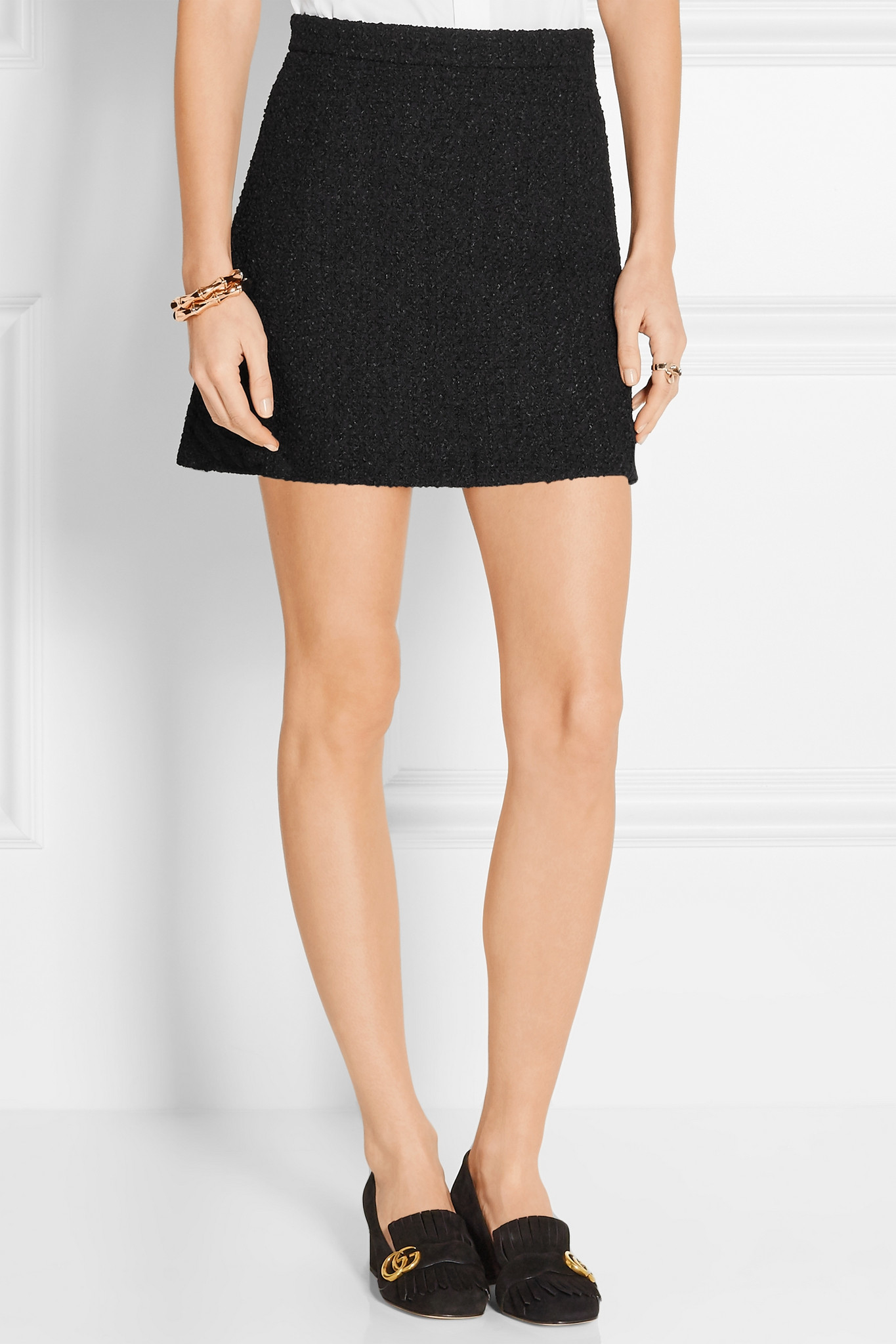 6ce3fa17fe Gucci Tweed Mini Skirt in Black - Lyst