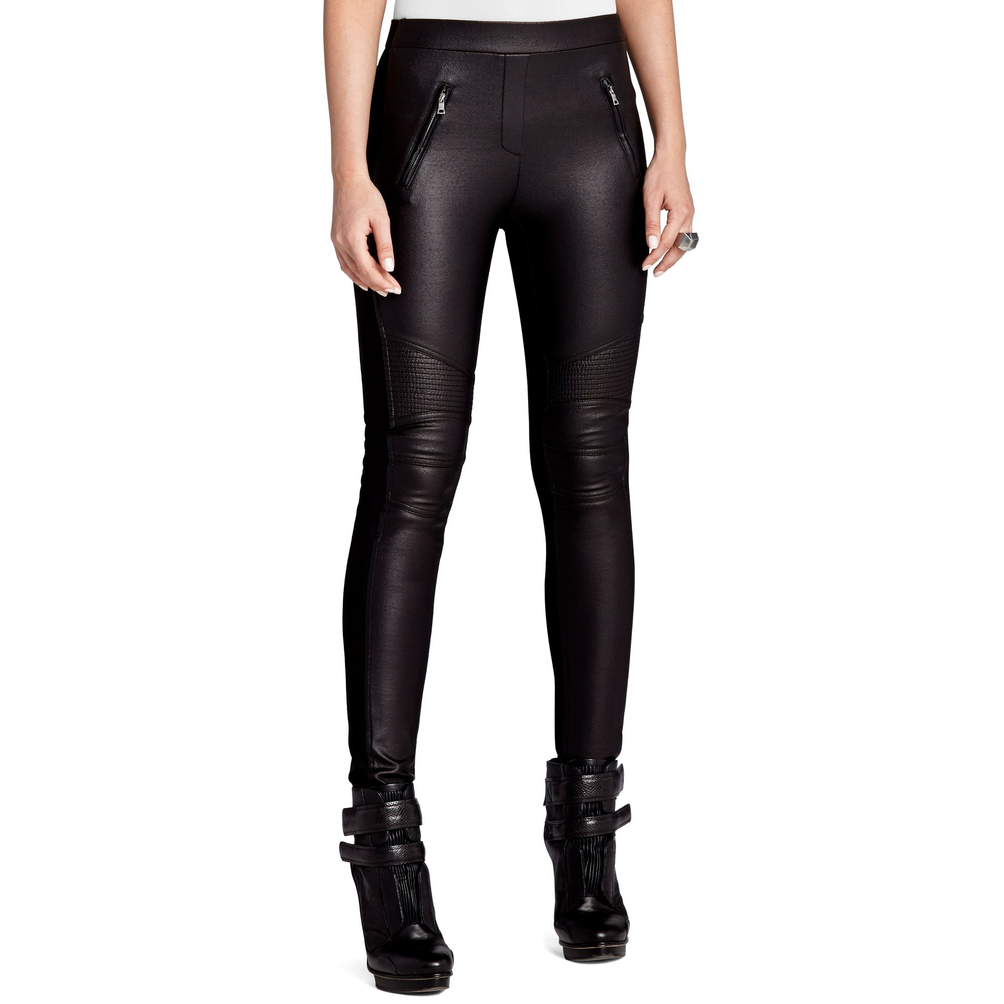 Bcbgmaxazria Skinny Faux Leather Motorcycle in Black | Lyst